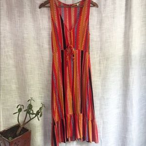 Gianni Bini Bright Stripe Front Tie Midi Dress